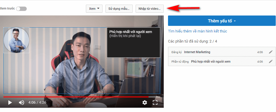 Màn hình kết thúc nhập YouTube từ video