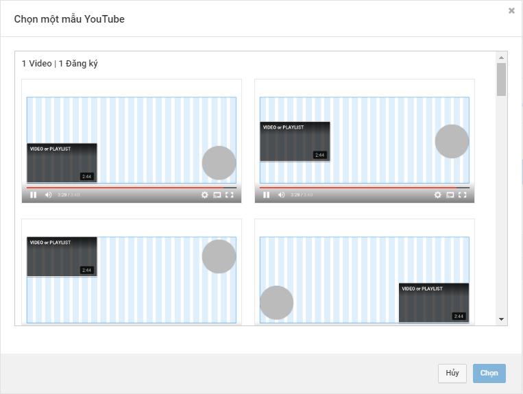 Chọn một trong các mẫu màn hình cuối YouTube.