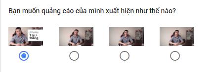 Chọn hình thu nhỏ bạn muốn sử dụng cho quảng cáo YouTube của bạn.