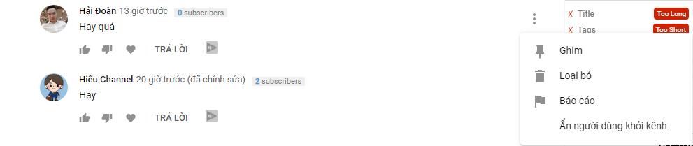 Bạn có thể kiểm duyệt các nhận xét YouTube cá nhân trực tiếp từ nhận xét về chính video đó.