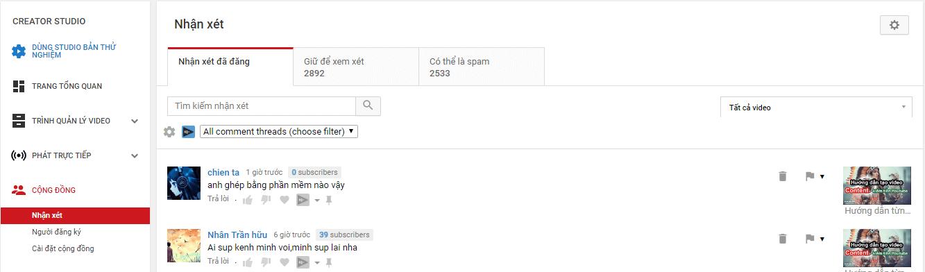 Phần Cộng đồng trong YouTube Creator Studio hợp nhất các nhận xét từ tất cả các video của bạn để dễ dàng xem xét và theo dõi.