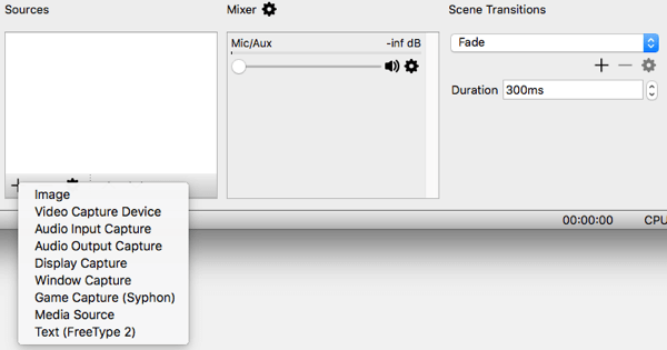 Từ Phần mềm phát sóng mở, bạn có thể chọn nguồn video và âm thanh.