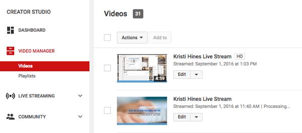 Video trực tiếp của bạn, sau khi hoàn thành, sẽ được thêm vào video tải lên thông thường của bạn.