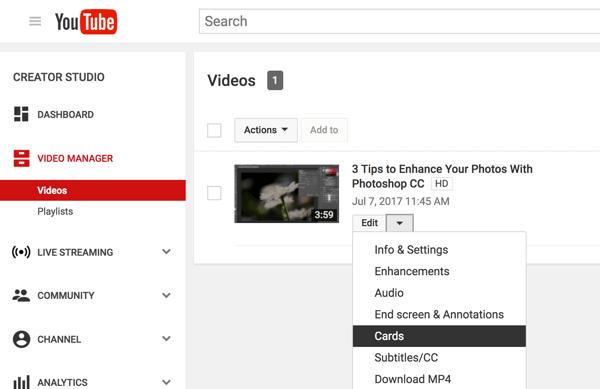 Trong Trình quản lý video YouTube của bạn, nhấp vào mũi tên xuống bên cạnh Chỉnh sửa và chọn Thẻ.