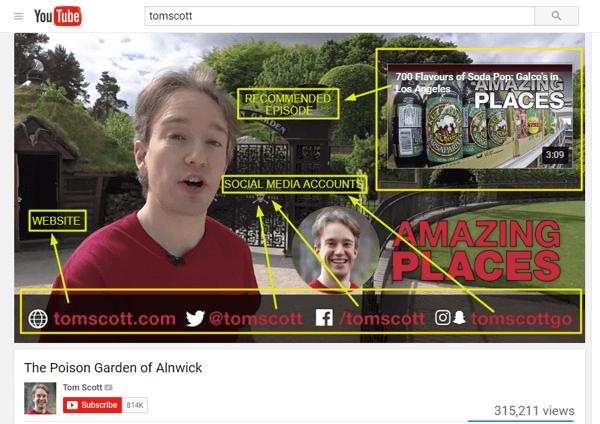 Tom Scott sử dụng màn hình cuối của mình để giới thiệu một video khác của mình và chia sẻ trang web cũng như các phương tiện truyền thông xã hội.