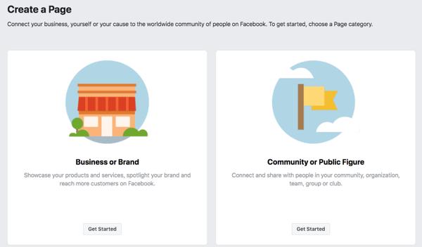 Bước 1 để tạo trang kinh doanh trên Facebook của bạn.