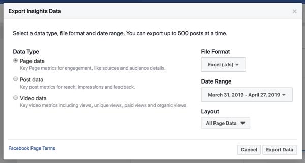 Xuất dữ liệu Facebook Insights của bạn để đơn giản hóa việc phân tích dữ liệu.