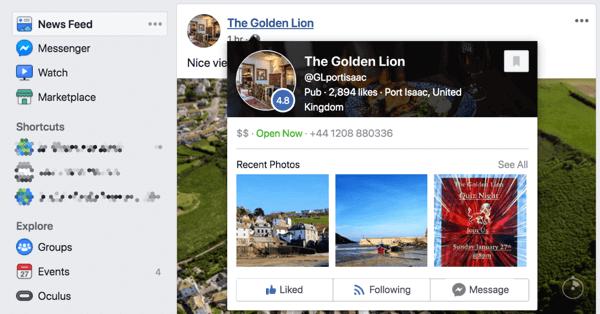 Khi ai đó di chuyển qua trang Facebook của bạn trong nguồn cấp tin tức, nó sẽ hiển thị bản xem trước trang.