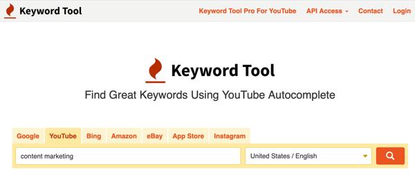 Công cụ từ khóa nghiên cứu từ khóa trên tab YouTube .