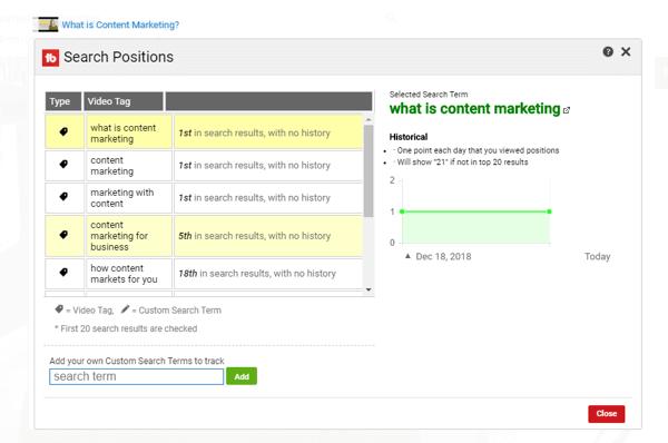 TubeBuddy bước 3 Tìm kiếm xếp hạng báo cáo chi tiết.