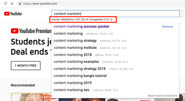 Keywordseverywhere nơi thống kê tìm kiếm tiện ích chrome cho YouTube.