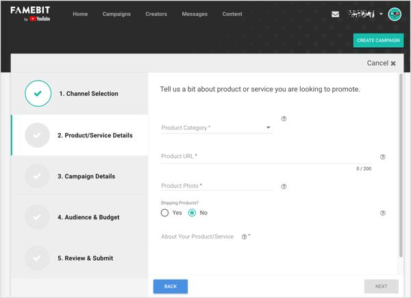 Trên Famebit điền thông tin chi tiết cho sản phẩm hoặc dịch vụ bạn muốn quảng cáo với người có ảnh hưởng YouTube.