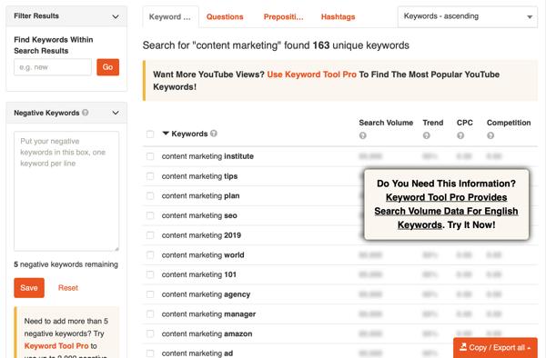 Công cụ từ khóa YouTube nghiên cứu từ khóa bước 2 kết quả.