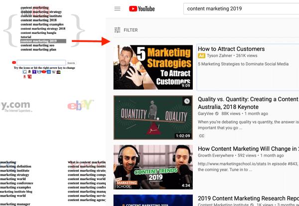 Soovle YouTube nghiên cứu từ khóa bước 3 kết quả video hàng đầu.