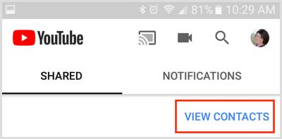 Xem liên kết Danh bạ trên tab Chia sẻ trong ứng dụng YouTube dành cho thiết bị di động