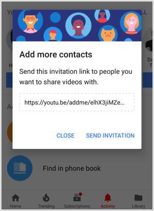 Liên kết lời mời YouTube để chia sẻ với mọi người để thêm nhiều liên hệ hơn