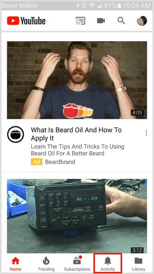 Tab hoạt động trong ứng dụng YouTube dành cho thiết bị di động