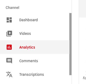 Cách sử dụng chuỗi video để phát triển kênh YouTube, tùy chọn menu cho phân tích YouTube