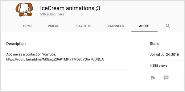 Liên kết lời mời chia sẻ YouTube trên tab Giới thiệu