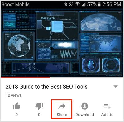 Nhấn vào nút Chia sẻ bên dưới video trên ứng dụng YouTube dành cho thiết bị di động